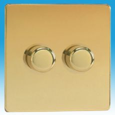 Varilight V-Pro 2 Gang 2 Way 2x250W Push on/off LED Dimmer Light Switch Screwless Polished Brass JDV